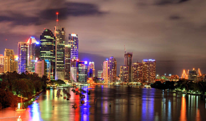 картинка, brisbane, wonderful, сборник, hq, отличных, вид, красиво, world, широкоформатные, обоев, ассорти, river, hdr, buildings, city, night,