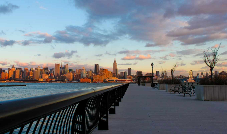 закат, город, нью, york, new, вечер, water,