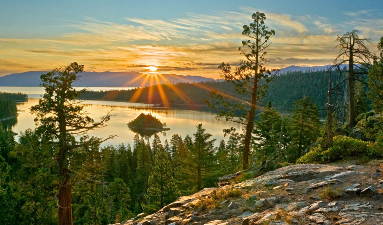 рассвет, со, озеро, закат,