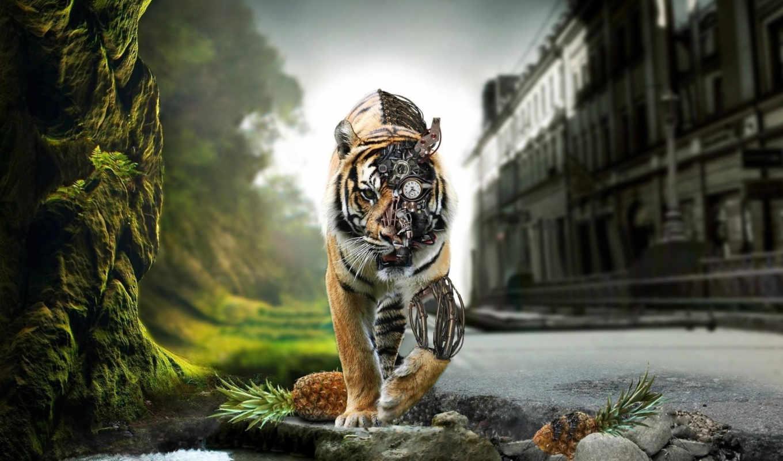 киборг, тигр, природа, механизм, город, ананасы, рисунок, оружие,