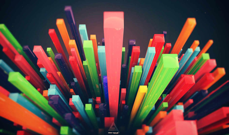 абстракция, design, рендер, разноцветных, виде, высоком, daily,