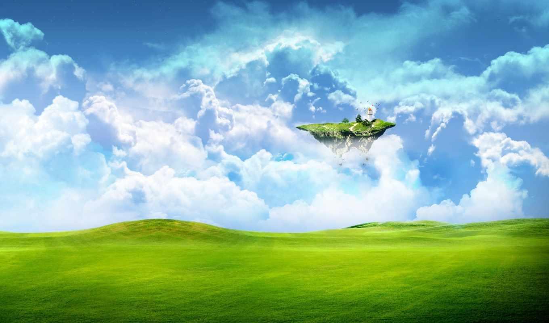 зелень, летающий, островок, небо, облака, трава, поле, фантастика, земля,