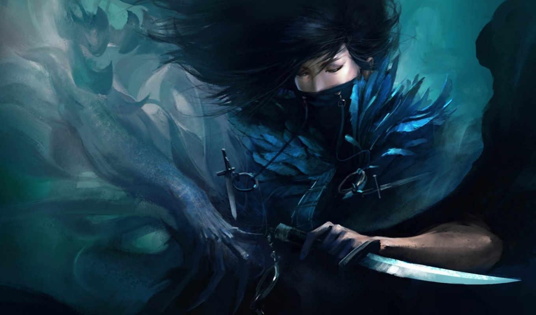 девушка, нож, оружие, дух, арт, young, mazert, картинка,