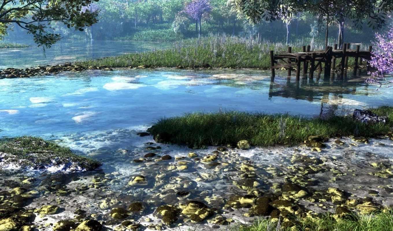 река, klontak, природа, камни, причал, лес, трава, арт,