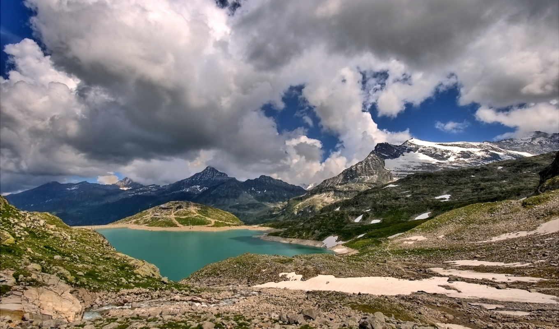озеро, горы, горах, снег, облака,