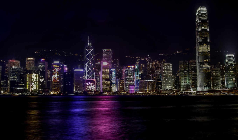 ночь, kong, небоскребы, hong, flickr, world, photos, pictures, огни,