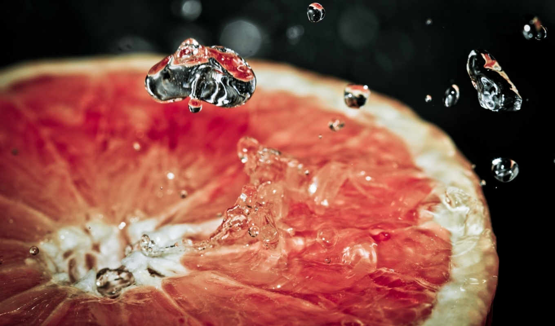 grapefruit, slice, macro, red,