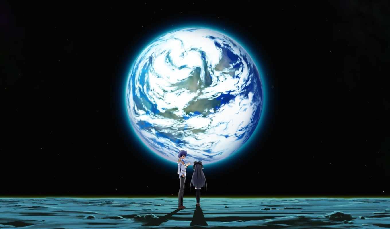 anime, космос, девушки, девушка, парень, луна, art, manga, earth, izumi,