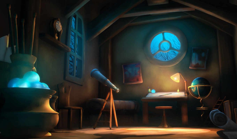 telescope, окно, комната, art,