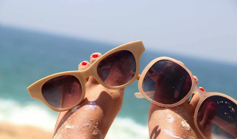 море, песок, summer, пляж, ножки, солнцезащитные, лежат, очки, природа,