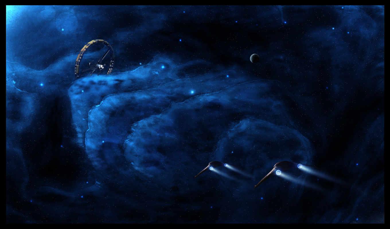 космос, звезды, туманности, корабли, станция, картинка,