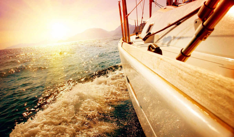 море, яхта, water, ocean, обстановка, настроение, sun, пейзажи -, волны,