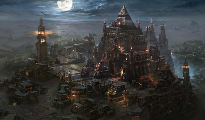 город, пирамиды, пустыня, луна, ночь, kingdom, art, full,