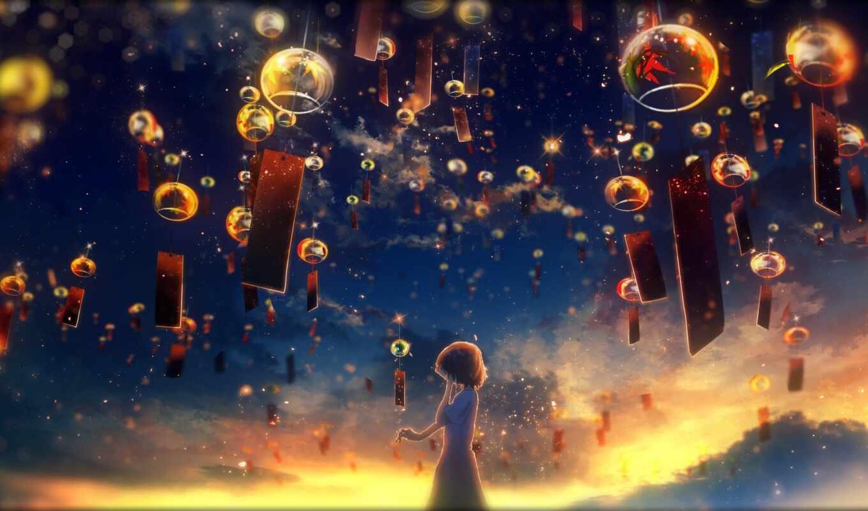 anime, lantern, небо, ysk, art