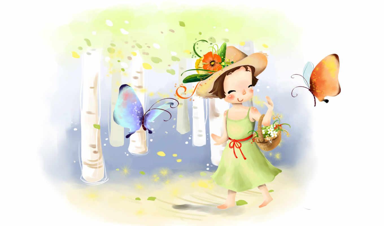 нарисованные, рисунок, шляпа, девочка, платье, корзинка, бабочка,