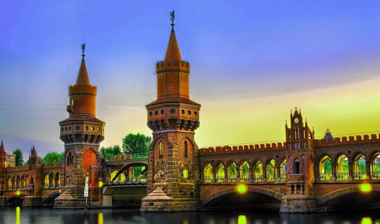 berlin, deutschland, германия, город, мост,