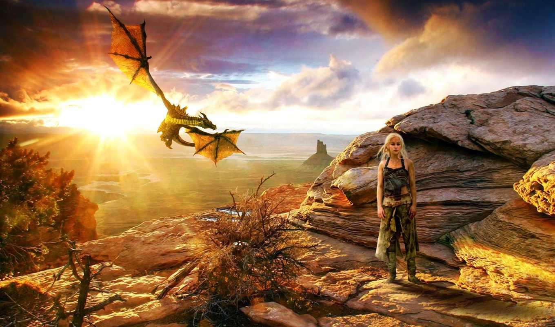 thrones, game, плакат, дракон, было, огонь,