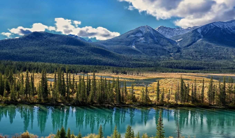 канадский, альберта, бант, река, горы, trees, бою, канада, лук,