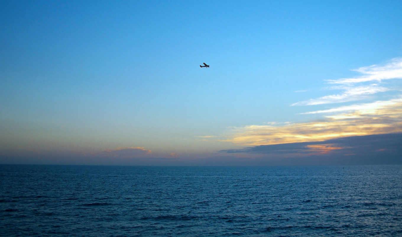 полет, самолёт, море, небо, закат, горизонт,