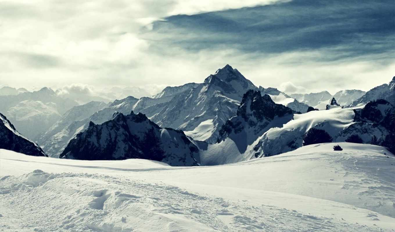 snow, winter, landscape, ipad, mountains,