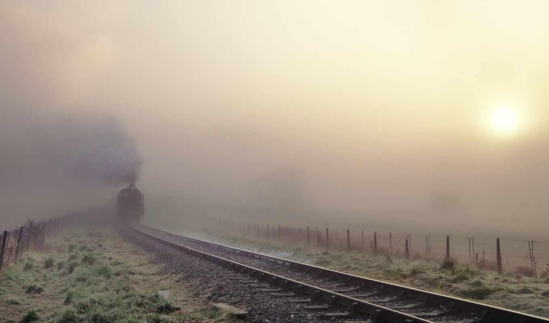 поезд, железная, дорога, туман, railroad,