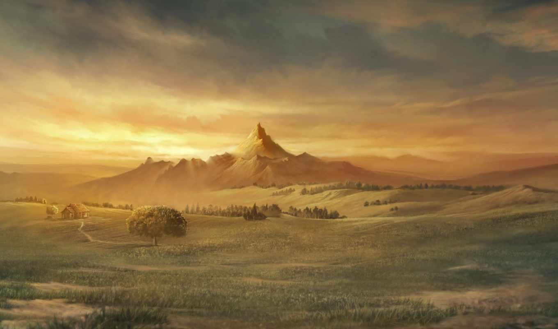 рисунок, горы, поле, house, картинка,