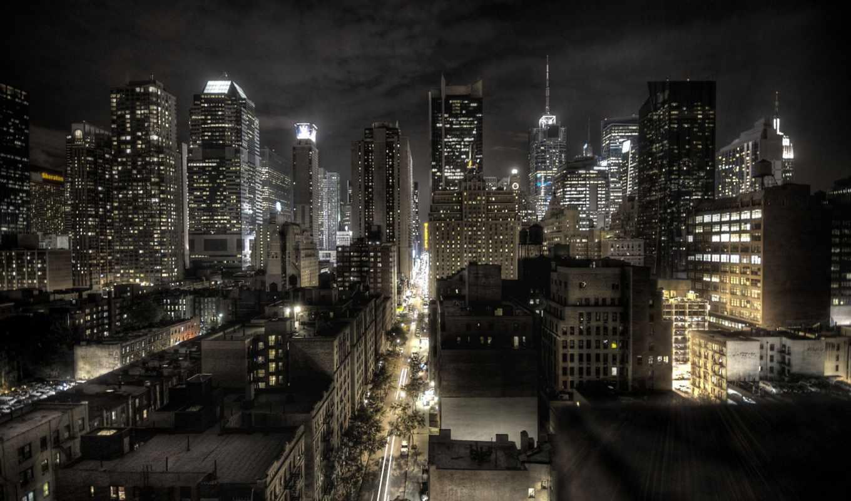 первую, вид, ночь, нью, york, города,