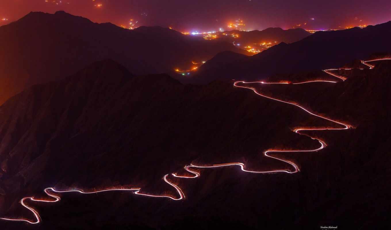 дорога, серпантин, изображение, гора, горы, fotoğrafları,