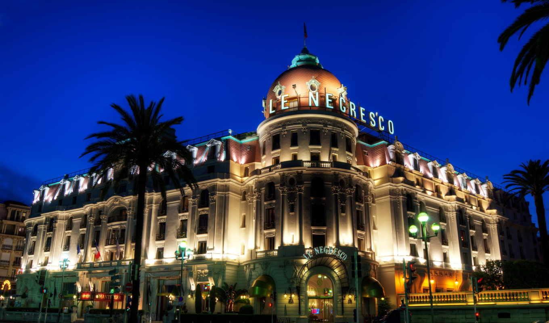 hotel, negresco, город, ночь, франция, негреско, ница, пальмы,