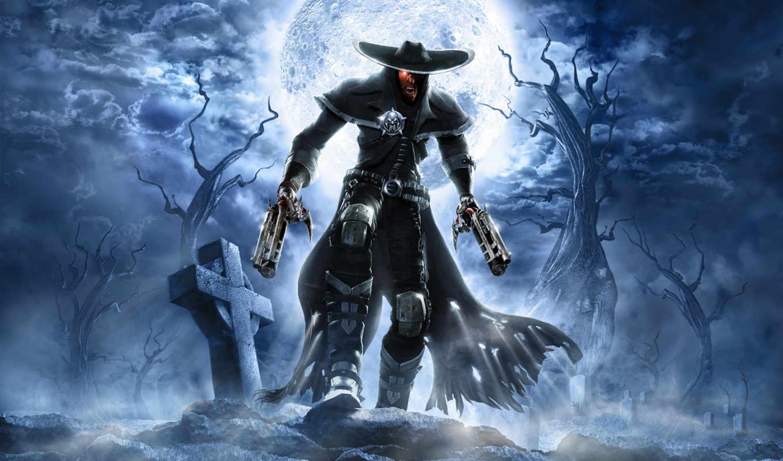 зомби, луна, кладбище, кросс, череп, стволы, пушки, darkwatch,