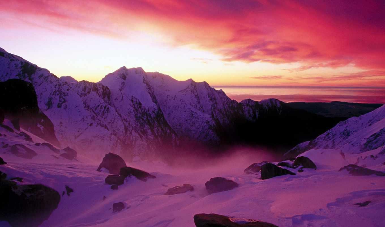 franz, josef, zealand, new, glacier, закат, со,