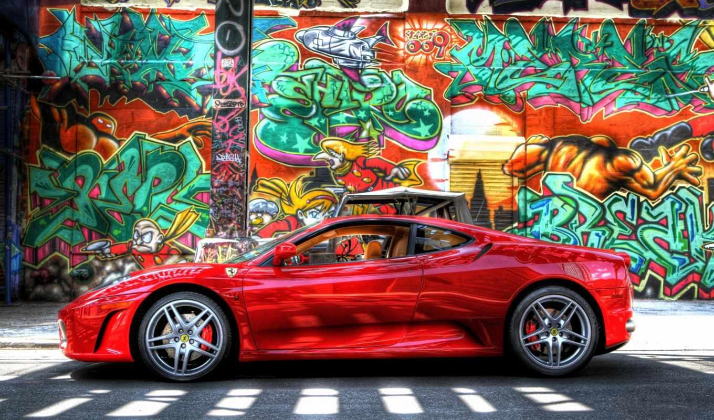 graffiti, стена, ferrari, категории, заставки, картинка, фоны,