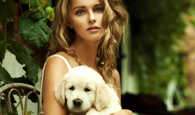 девушка, women, щенок, собаки, аватары, разных, руках, devushki, щенком, ретривера,