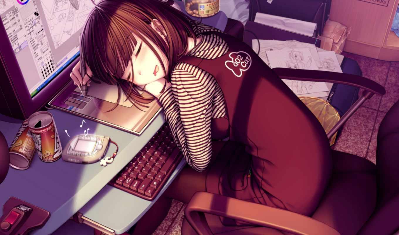 ночи, anime, спокойной, amino, manga, девушка, art,