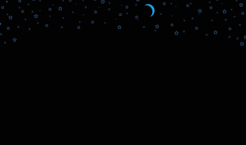 ночь, луна, звезда, голубый, черный,