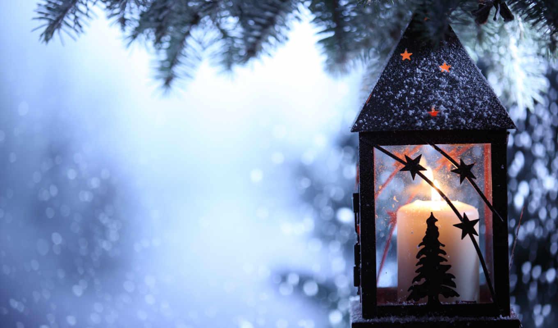 лампа, снег, winter, фонари, ночь, branch, свеча, подсвечник, ёль, фонарик,