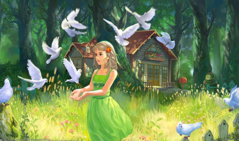 дети, голуби, голубей, девушка, картинка, portrait, рисованные, домик, травка, house,