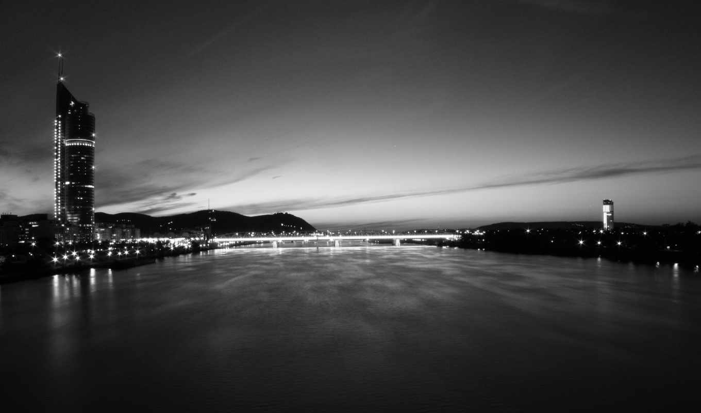 чёрно, белое, город, небо, мост,
