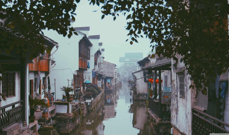 china, hd, scenery, река, домики, туман,