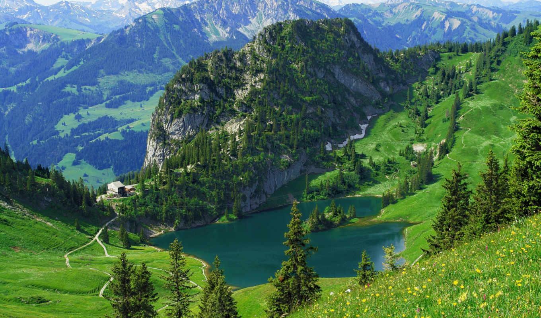 штокхорн, альпы, швейцарские, вершине, часть, футов,