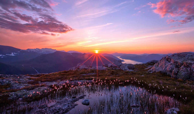 небо, природа, закат, горы, sun, landscape, лес, разделе,