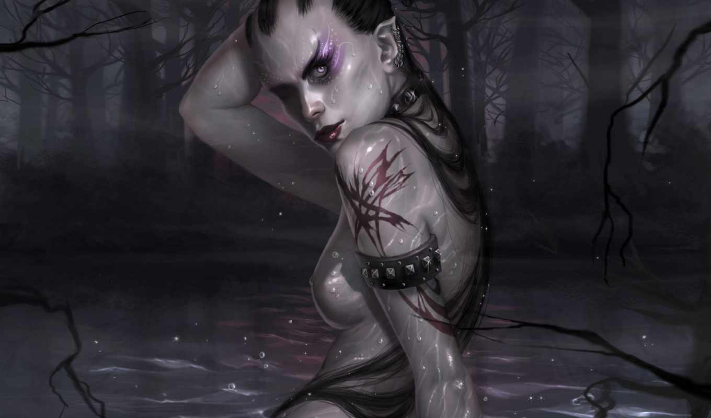женщина, воин, нож, water, фэнтези, darkness, болото,