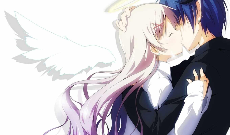 art, anime, девушка, angel, крылья, парень, halo, поцелуй, рога,