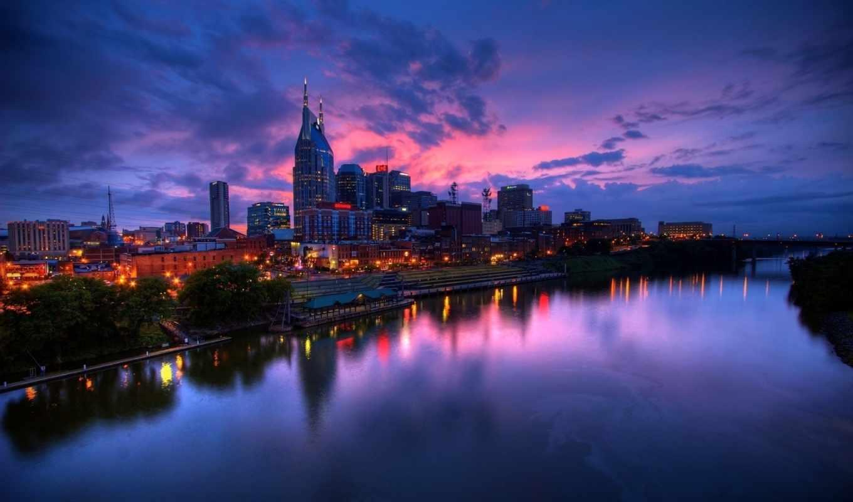 города, город, архитектуры, ночь, современные, заставки, городов, река, небоскребы,