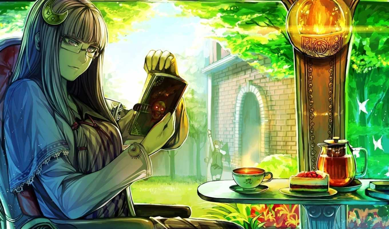 art, череп, девушка, очки, книга, чая, окно,