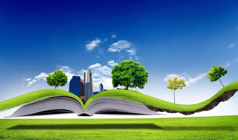 книга, природа, открытая, creativ, здания, газон, которой, графика, живая,