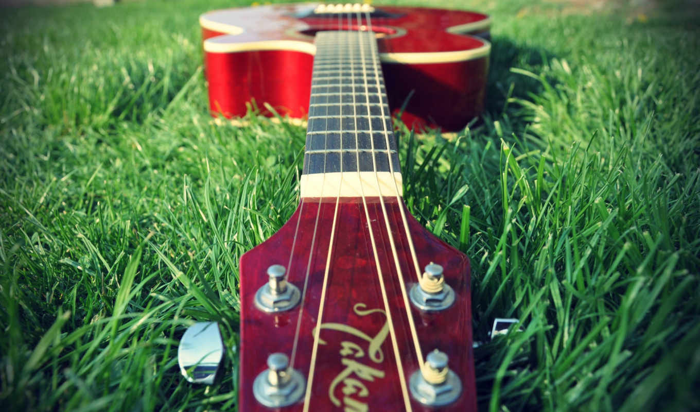 гитара, красная, траве, музыка,