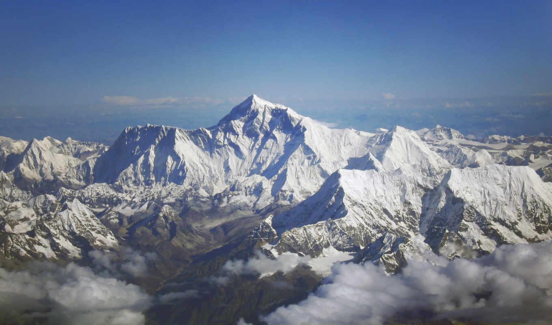 everest, горы, небо, гряда, oblaka, снег, пейзажи -, гора, мар,