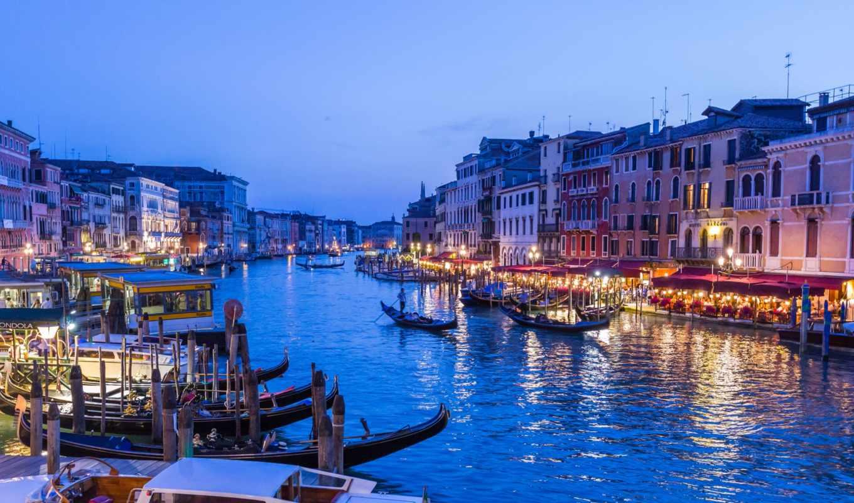 canal, venezia, grand, italian, огни, города, канал, ночного, water, дома, город,