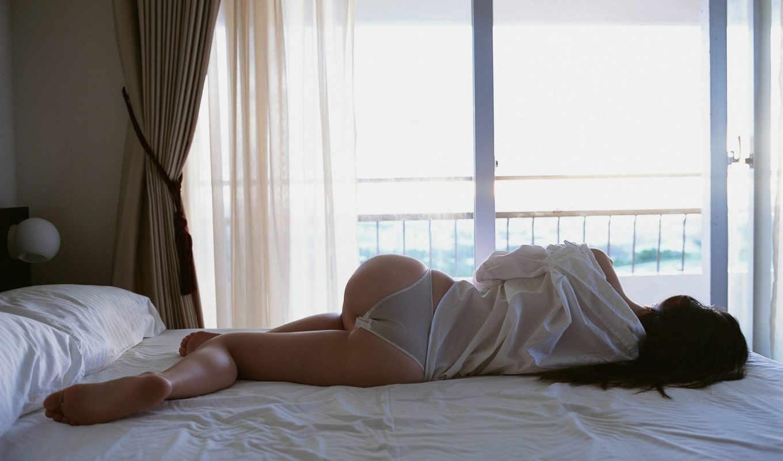 девушка, утро, кровать, ножки, ass, секси,